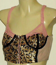 HUNT NO MORE FrontZipSexySequinNetCropSz12 rrp$99.95
