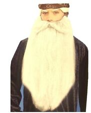 """18"""" Extra Long White Beard and Moustache Santa Wizards Costume Accessory"""
