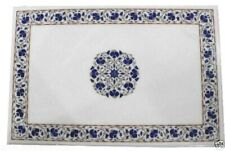 4'x3' Marble Coffee Table Top Lapis Lazuli Inlay Mosaic Floral Art Home Decor