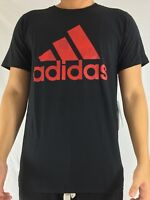 Adidas Men's Shirt Tee Badge of Sport Fill Card 2 Black Scalet Red CD7945 Size S