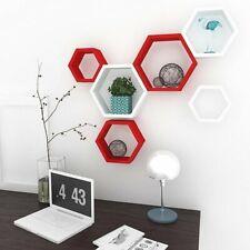 Hexagon Shape Set of 6 Floating Wall Shelves (White & Red)