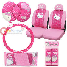 Sanrio Hello kitty Car Seat Covers Pink Poka Dots 9pc Car Auto Accessories Set