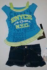 ENYCE Girls 2 Pc Set Shirt & Jean Skirt  Set Size 12 Months