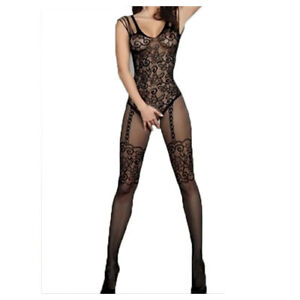 hot new y much-loved floral motif mesh body stockings one size (black)