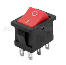 1 Pc Dpdt Mini Rocker Switch On On Red Button Kcd1 6a250vac Usa Seller