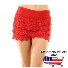 Korean Sweet Crochet Tiered Lace Shorts Short Pants  Red S/M