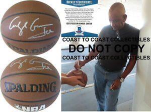 George Gervin Iceman San Antonio Spurs autographed basketball COA proof Beckett