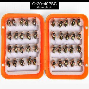 40pcs Flies Beaded Fly Fishing Dry Flies Bead Head Bass Trout Lures Hook W/ Box