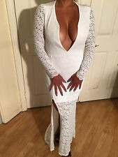 Connie's Long Sleeve White Stretch Lace Deep V Plunge Neckline Backless maxi S/M