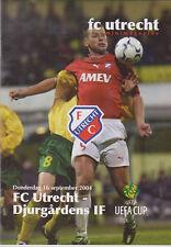Programme / Programma FC Utrecht V Djurgardens IF 16-09-2004 UEFA Cup 1st round