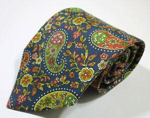 Etro Milano Paisley Signature Pattern Blue Color Silk Necktie Tie