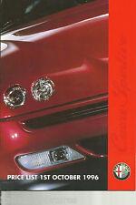 ALFA ROMEO LISTINO PREZZI 1st OTTOBRE 1996 145 146 155 164 SPIDER GTV UK 12 pagina