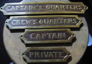 Nautical Sailor Plaque Sign Captain Crews Quarters Private Wood Brass Head Beach