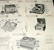 Lot 5 Recorder Service Photofacts BRUSH BK-455P MI-15910 EKOTAPE 114 115 V-M 700