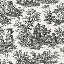 BLACK TOILE HARVEST IMAGE COASTERS SET OF 4 FABRIC TOP / RUBBER BACKED