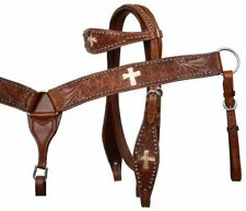 Showman Leather Headstall & Breast Collar Set w/ Genuine Cowhide & Crosses