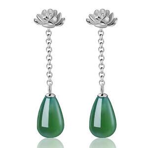 Grüner Achat Stein 925 Silber Schmuck Lotus Blume Lange Ohrringe für Frauen