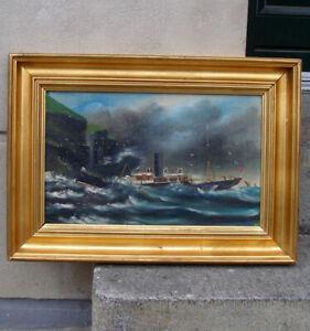 Rare Antique oil. Steamship in distress. Faroe Islands coast. 1900. S/S Smiril ?