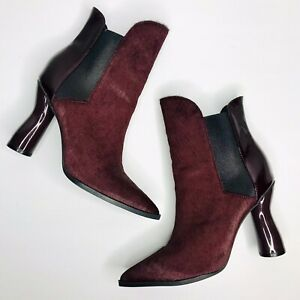 Sass + Bide Sz EU 38 The New Order Bordeaux Patent Leather Pony Hair Ankle Boots