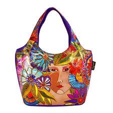 Laurel Burch Foiled Blossoming Woman Medium Small Scoop Tote Bag NEW