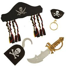 CHILDREN'S PIRATE FANCY DRESS COSTUME SET - HAT HOOK EARRING EYE PATCH & CUTLASS