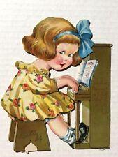 Antik 1930s Jahre Mechanisch Valentinstag Karte Mädchen Playing Piano