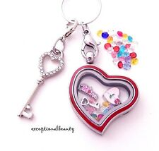 Mothers Day Mom Love Heart Living Memory Floating Charms Pendant Locket Necklace