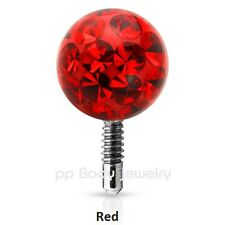 16G-3-4-5mm Crystal Ferido Epoxy Covered Replacement Ball Tragus Labret Top