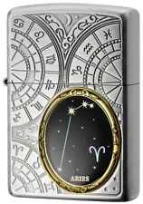 New Zippo Lighter 12 Constellation Aries Silver Metal Oil Lighter