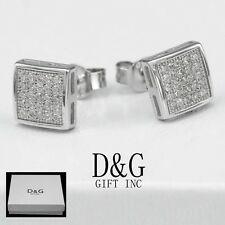 DG Men's Sterling Silver 925.CZ Iced-Out 8mm Square Push-back*Earring Unisex-Box