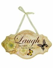 SHABBY CHIC SIGN LAUGH ROSE BUTTERFLY HANGING PLAQUE CREAM BEIGE SATIN RIBBON