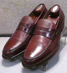 241314  MSi60 Men's Shoes Size 8.5 M Burgandy Leather Slip On Johnston & Murphy