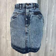 "Vtg 90s Grunge Blue Acid Wash Denim Button Mini Jean Skirt Sz M 28"" High Waist"