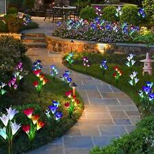 2-Pack Solar Lily Flowers Garden Lights LED Multi-Color Outdoor Yard Decor Lamp