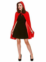 Ladies RED CAPE Fancy Dress Costume Halloween Devil Horror Red Riding Hooded