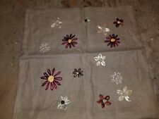 """Pottery Barn """"Taupe Embroidered Flowers"""" 100% Linen 18"""" Pillow Cover"""