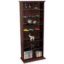 BOSTON Glass Collectable Display Cabinet  CD DVD Storage Shelves Dark Oak MS1014