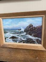 "Vintage Hand Colored Print ""Surf at Pinnacle Rock Charles Sawyer"