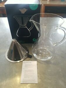 Coffee Gator reusable filter Glass Pour Over Coffee Maker Dripper, 6 cup/ 27oz