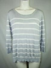 Banana Republic Gray White Striped Sweater Women's Linen Rayon XL X-Large