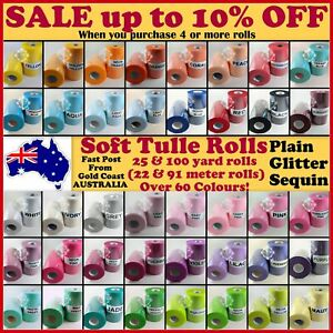 """Tulle Fabric Spool Roll 6"""" 25/100 Yards Wedding Tutu Craft Glitter Sequin Party"""