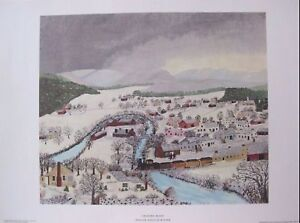 "Grandma Moses ""Hoosick Falls In Winter""  1951 Art Print Free Shipping"