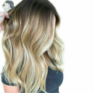 100% Human Hair New Fashion Sexy Women's Long Brown Mix Blonde Wavy Full Wigs