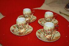 Rare Unique Emtiaz Turkish Coffee&Espresso  Floral porcelain SET of 4