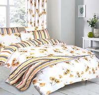 Poppy Floral 100% Cotton Quilt Duvet Cover Pillowcase Bedding Set UK White Ochre