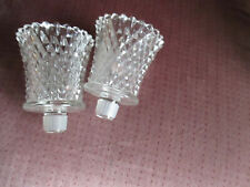 Set Of 2 Vintage Home Interiors Diamond Cut Clear Votive Cups w Grippers