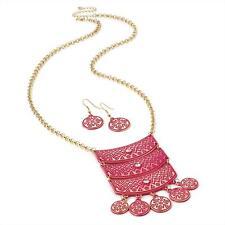 Splendido GOLD TONE & Rosa Smalto design tribale collana catena e impostare Orecchino