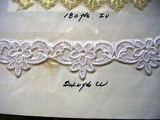 """Exclusively Venise lace floral trim 1 1/2"""" Applique Rayon White  2 yds A3"""