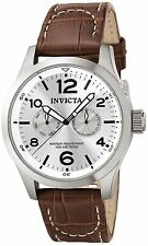 Invicta Mens II Collection Silver Dial Brown Leather Watch