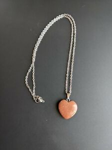 """Red Goldstone Handmade Crystal Heart Stone 3/4"""" Silver Chain Necklace"""
